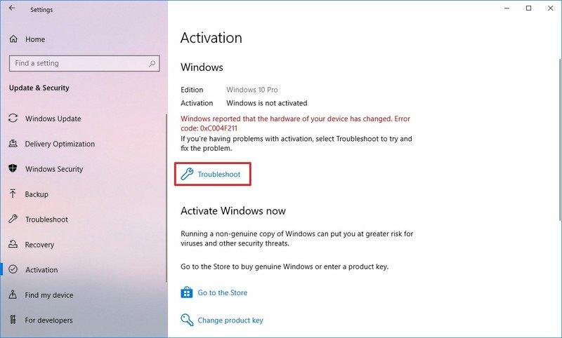 Windows 10 activation troubleshooter option
