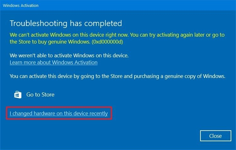 Windows 10 changed hardware on this device option