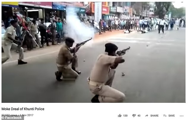 One example of the kinds of posts Reuters will review came with a photo of police attacking student protesters at Jamia Millia University in New Delhi in 2019 (pictured above). The photo, turned out to have been from a training exercise in 2017