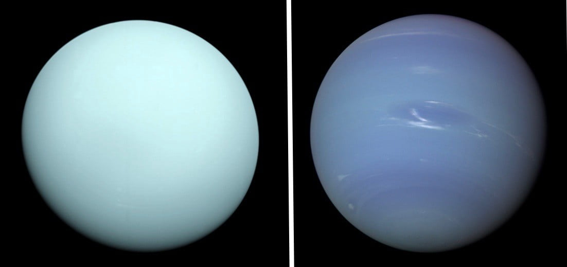 Uranus (left) and Neptune photographed by Voyager 2.