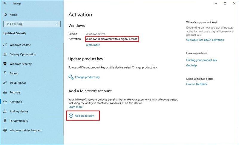 Activation settings add Microsoft account option