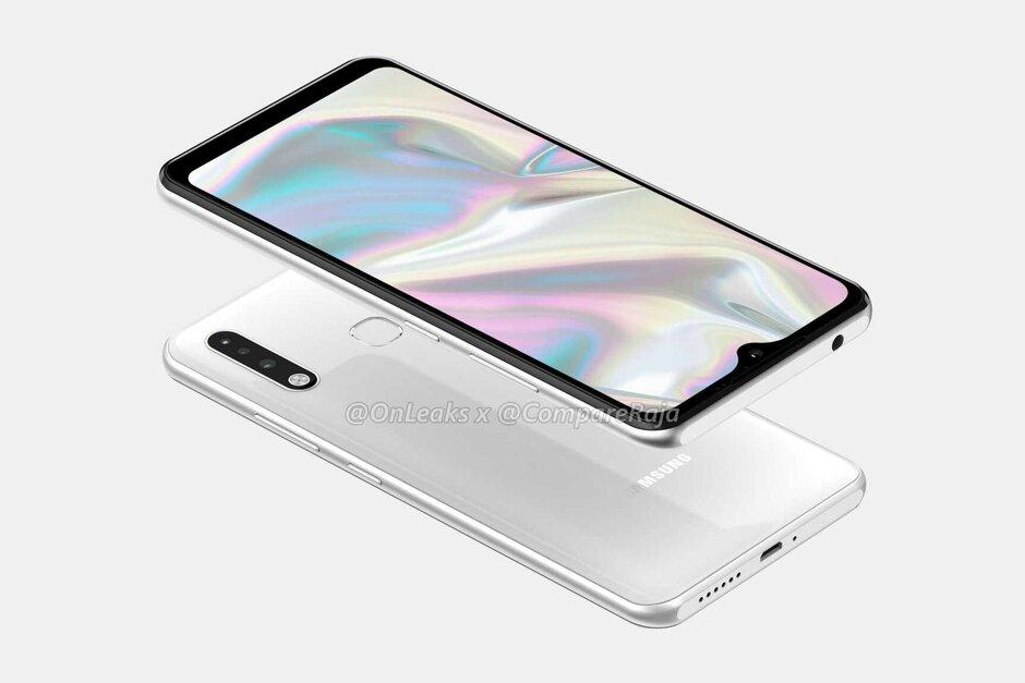 Samsung Galaxy A70e CAD-based render - Samsung's next budget smartphone has a triple-camera setup